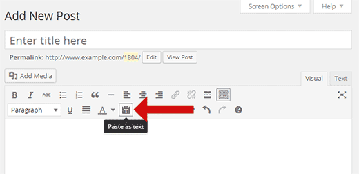 Paste as text button in WordPress visual editor