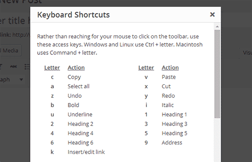 Using keyboard shortcuts in WordPress visual editor