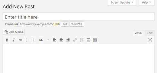 The default WordPress visual editor